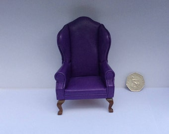 Queen Anne Wing Chair in purple leather for your dollshouse
