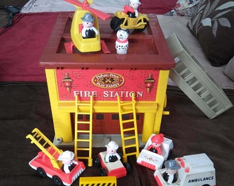 Vintage 1979 Fisher Price Fire Station with Accessories