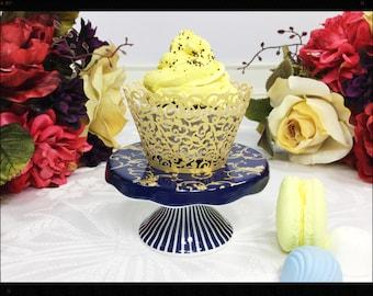 Gold Filigree Blue Cupcake Stand Grace China Dessert Pedestal Stand Tea Party Wedding Shower Tea Time Gift #