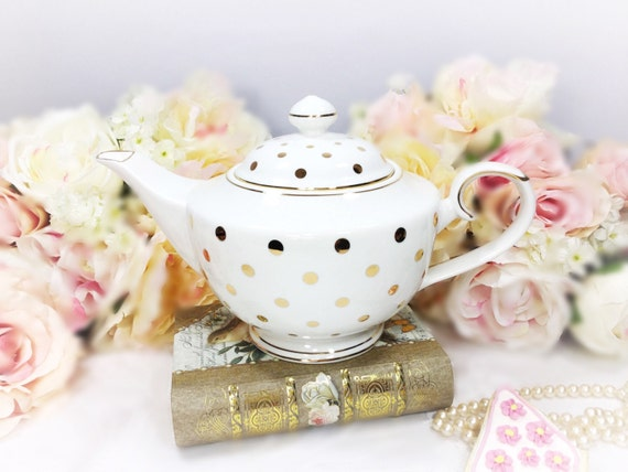 Gold polka dot porcelain teapot for tea set tea party for Gold polka dot china
