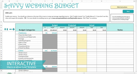 Wedding Excel Template