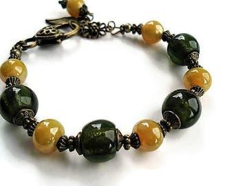 Green Bracelet Glass Jewelry Vintage Style Charm Bracelet Green Jewelry Boho Bracelet Statement  Jewelry Everyday Bracelet Beaded Jewelry