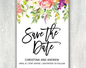 Summer Save The Date Digital Printable Invite Wedding Save Our Date Invitation Watercolor Floral Save The Date Flowers Pink Red White 5x7