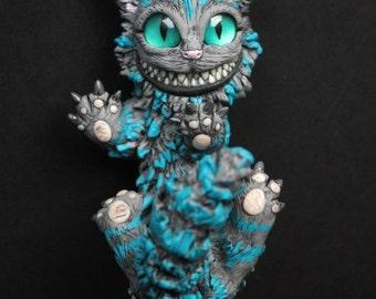 "Sale -15% cuponcode: ""JULYSALE"" - Cheshire cat sculpture - Alice in Wonderland Cheshire kitten - OOAK cat figurine - Cheshire fantasy figure"