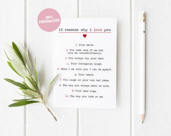 Personalised Anniversary Card, Anniversary Card, 10 Reasons I Love You, First Anniversary Card, First Anniversary Her, Anniversary Card Wife