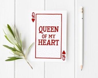Queen Of My Heart, Anniversary Card, Pun Valentine Card, Wifey Card, Funny Anniversary Card, Queen Of Hearts Card, Card For Wifey Queen