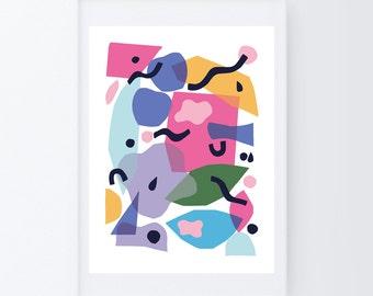 Colorful wall art, abstract art, colorful print, large wall art, modern art print, whimsical art, modern art large wall, abstract poster