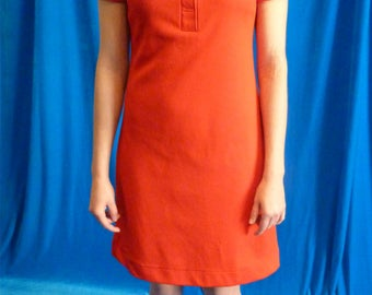 Red short polo neck vintage 70s dress