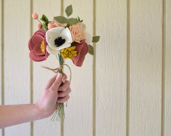 Felt Flower Bouquet - Alternative Bridal Bouquet - Keepsake Wedding Bouquet