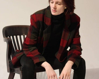 Medium Vintage 80s 90s Plaid Grunge Red Green Blazer Jacket Shoulder Pads