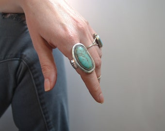 Royston turquoise and sterling silver ring size 7