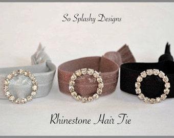 Beautiful Rhinestone hair tie with slider. No crease hair ties, dressy hair tie, hair bling, gift for her, bridesmaid gift, stocking stuffer
