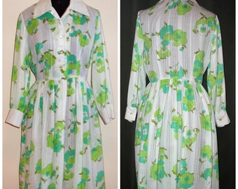 Vintage 1960's White SEARS Dress with Green Flowers Cotton / Day Dress