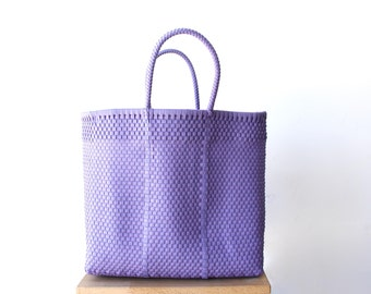 Light Purple Handwoven Tote, Mexico Bag, Mexican Tote, Oaxaca Tote, Woven Tote Bag, MexiMexi Bag, Woven Tote, Hand-woven Mexican bag