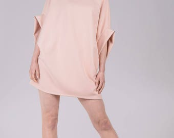 Light pink tunic / Woman's summer tunic / Short pink oversized dress / Shapeless woman's tunic / Fasada 1778-2