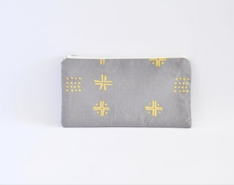 Small Zipper Pouch, Zipper Bag, Makeup Pouch, Cosmetic Pouch, Coin Purse, Bag Storage Organiser - Grey Mudcloth