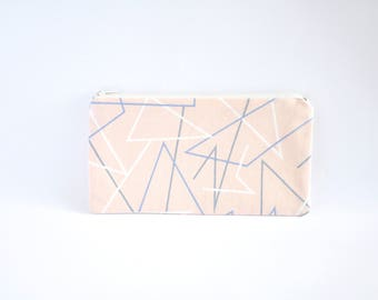 Small Zipper Pouch, Zipper Bag, Makeup Pouch, Cosmetic Pouch, Coin Purse, Bag Storage Organiser - Geometric Pink