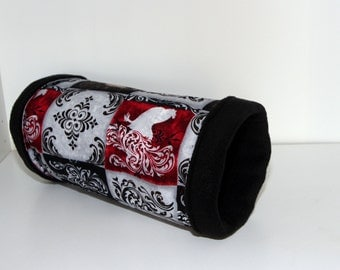 Hedgehog Tunnel, Rat Cosy, Hedgie Cozy, Guinea Pig Tube - Black Red and Gray Roosters
