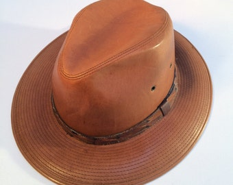 Dobb's Vintage Leather Hat, Men's Leather Hat, Dobbs Fifth Avenue New York, Men's Fedora Hat, Size X-Large 7 1/2, Made in the USA