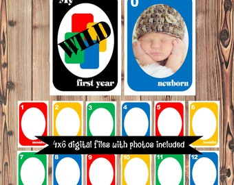 UNO First Year Banner - UNO Months Banner - Add Your Photos - DIGITAL printable files