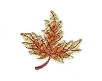 Tree Leaf - Fall - Leaves - Brown/Tan - Embroidered Patch - Iron on Applique - 695564B