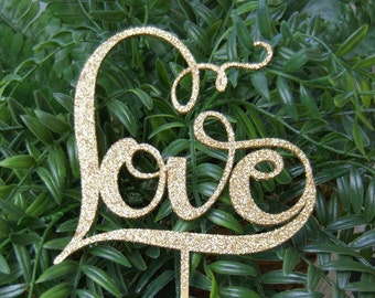 """Gorgeous """"LOVE"""" Cake Topper for any occasion - Bridal Shower, Engagement Party, Wedding, Anniversary, Valentine Day, Birthday Cake Topper!"""