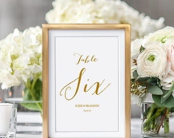 Wedding table numbers 4x6 & 5x7 instant download template. Sweet Bomb. Edit, print, trim | DIY Editable printable template | Word files