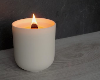 White Porcelain, Aromatherapy Candle, Wood Wick, Soy Wax Candle, Essential Oils