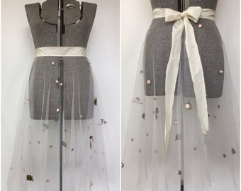 """Reserved----------------------------------Vintage 1950s Wedding Dress Skirt Overlay W/Floral Accents - Waist 34.5"""""""