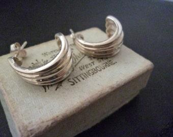 "Vintage Deco style silver earrings - 925 - sterling silver - 0.75"" x 0.6"""