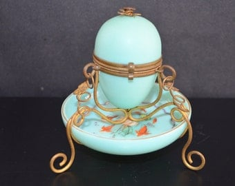French Opaline Robin Egg Blue Glass Ormolu Mounted Egg Casket Jewelry Box Enameled Flowers Antique Egg Box Vanity Palais-Royal Egg