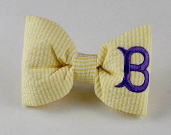 Monogram Yellow Seersucker Bowtie - Dog Lover Gift by Three Spoiled Dogs
