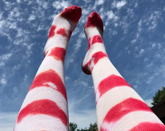 Knee High Socks - Red and White Stripe Tie-Dye Socks