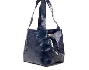blue tote bag - blue leather bag - blue leather purse - blue tote purse - blue purse - blue bag - leather tote bag - something blue - CLBL