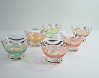 6 MCM glass bowls golden lines colored granite-like stripes champagne glass 1950, dessert cups, appetizer cups  vintage Made in France