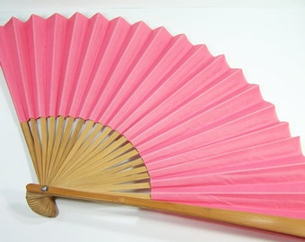 Big bamboo and pink paper fan vintage
