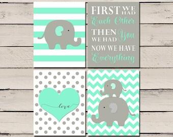 Mint elephant nursery decor, elephant nursery wall art, mint wall art, gray nursery decor, elephant nursery prints, elephant nursery arts