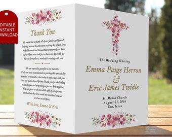 catholic wedding program template wedding program booklet wedding program printable rustic wedding program