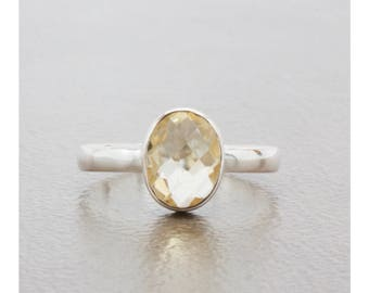 Natural Citrine Oval-Shaped Checkerboard Cut Bezel Set Solitaire Ring in Sterling Silver, Birthday Gift, Promise Ring