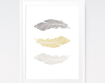 Feather Art, Gold Feathers, Feather Wall Art, Gold Wall Decor, Holiday Decor, Feather Art Print, Printable Artwork, Printable Feather Print