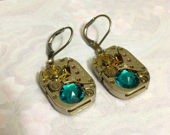 Valentine gift, Steampunk earrings with old watch parts, ear gear, Swarovski crystals, leverback earrings, vintage watch movements, ,