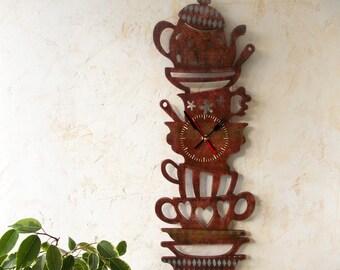Kitchen wooden clock, Kitchen decor, Analog clock, Rustic kitchen, Wooden clock, Stack of dishes,Crockery, Beige,Brown
