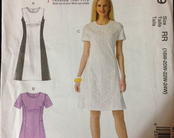 McCalls M7169 - Sleeveless or Short Sleeved Dress with Princess Seams and Contrast Fabric Option - Size 18W 20W 22W 24W