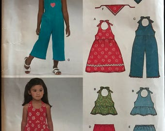 New Look 6361 - Easy Kids Halter Style Dress, Top, Pantsuit with Pull on Capris and Shorts - Size 3 4 5 6 7 8