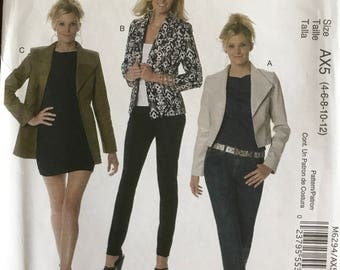 McCalls M6294 - Mellisa Watson Above At or Below Hip Length with Wide Lapel Collar - Size 4 6 8 10 12