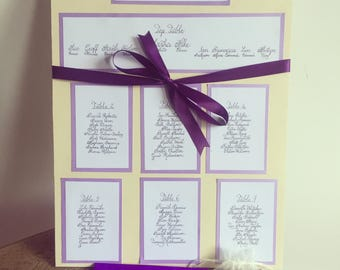 Bespoke Handmade Table Plan/Seating Chart - Individual table plan cards or the entire seating plan board