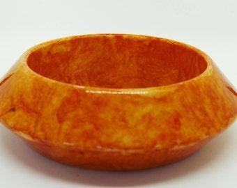 Marbled Orange Saucer Shaped Plastic Vintage Bangle or Bracelet