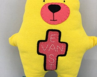 Stuffed Bear, Vancouver child, East Van, Recycled bear, handmade bear, child gift, handmade teddy, stuffed bear, unique kids gift, baby gift