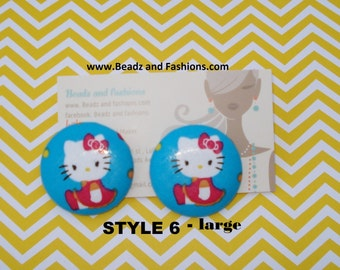 Blue Kitty cat fabric cover button earrings