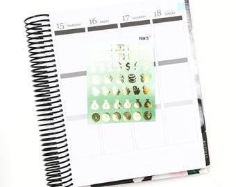 Foil Money Icons, Planner Stickers